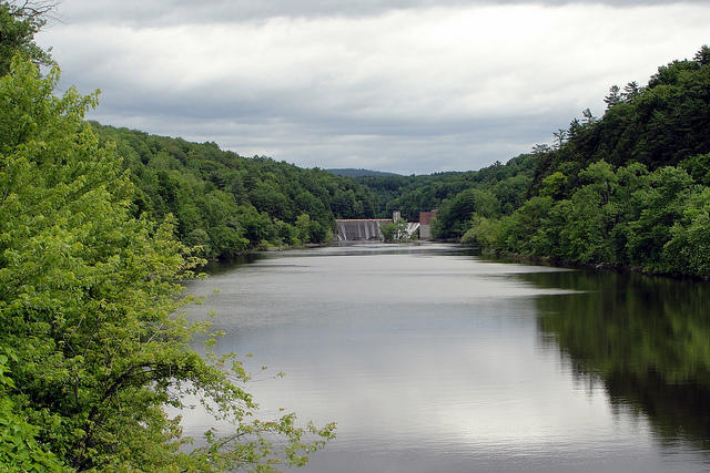 A downstream view of a dam on the Lamoille River.