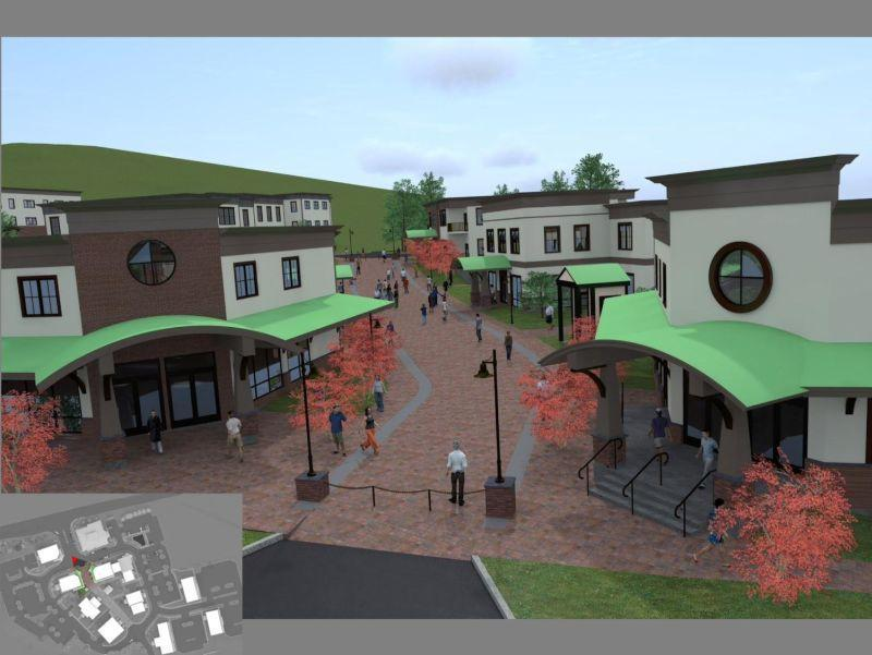 An architect's rendering shows Quechee Highlands, the development planned by travel business owner  Scott Milne.  A court ruling has removed one hurdle for the project.