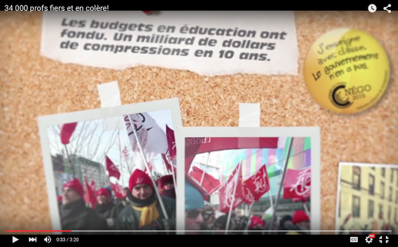 """A video released by the """"Fédération autonome de l'enseignement"""" teachers union Tuesday, called """"34 000 profs fiers et en colère!"""",  highlights issues being negotiated by the union, including major cuts to education budgets over the last 10 years."""