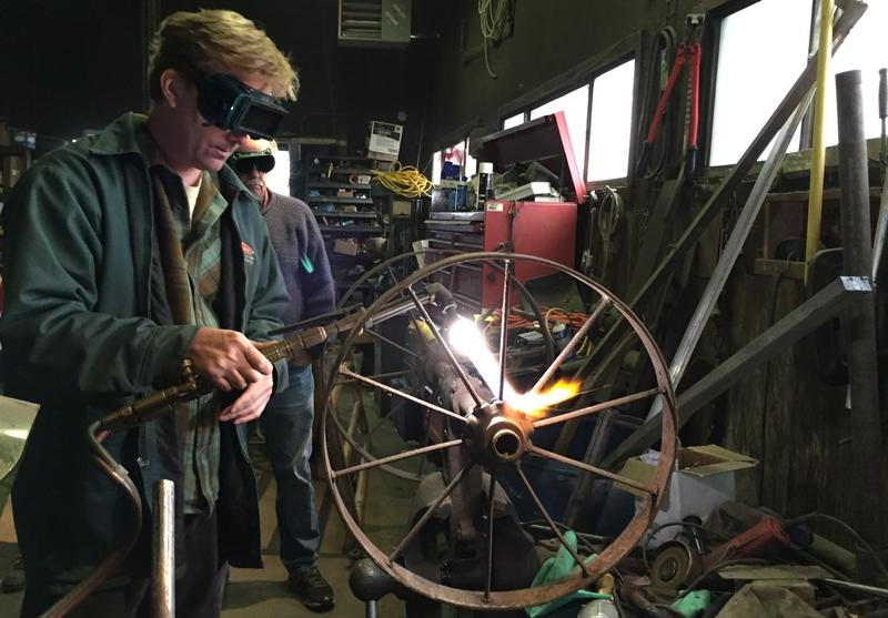 At a recent workshop held by NOFA-VT and Vermont Technical College, instructor Ron Wold demonstrated a variety of ways to repair rusted equipment.