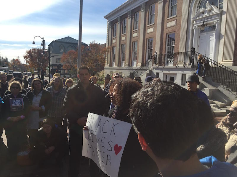 Saturday, a group called Rights and Democracy Vermont gathered in front of Burlington's City Hall for a press conference in response to the news that Ku Klux Klan posters were delivered to two homes in the area. ANNIE RUSSELL VPR