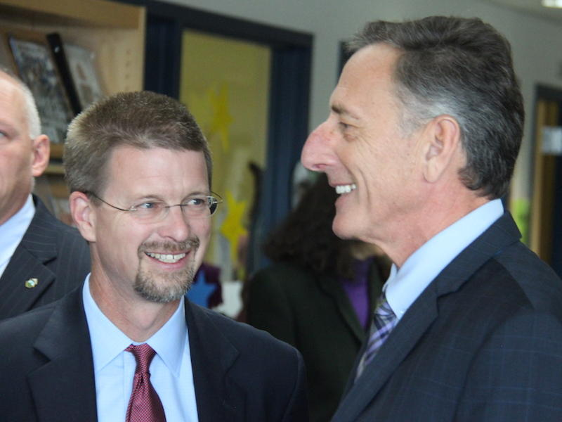 House Speaker Shap Smith and Gov. Peter Shumlin were among a group of state officials who gathered Tuesday morning in celebration of the first school district merger under Act 46.