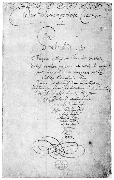 Title page of The Well Tempered Clavier, Book I