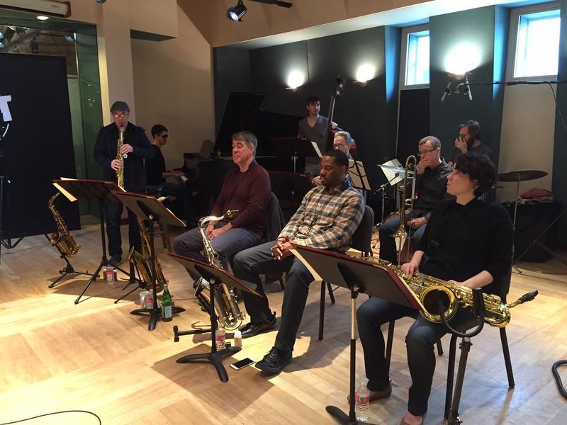 Front: Brian McCarthy - soprano sax; Daniel Ian Smith - tenor sax; Stantawn Kendrick - tenor sax; Linda Little - baritone sax. Back: Justin Kauflin - piano, Matt Aronoff - bass, Cameron McManus - trombone, Bill Mobley - trumpet, Zach Harman - drums