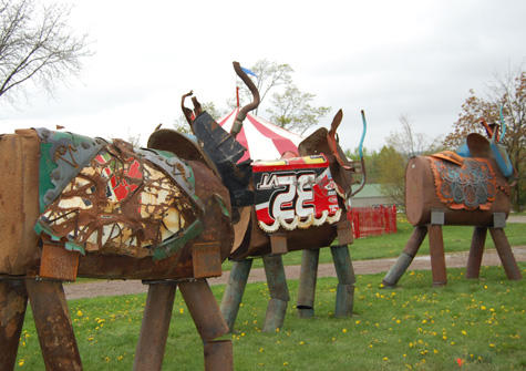 These circus elephants graced the grounds of the Shelburne Museum in 2012.