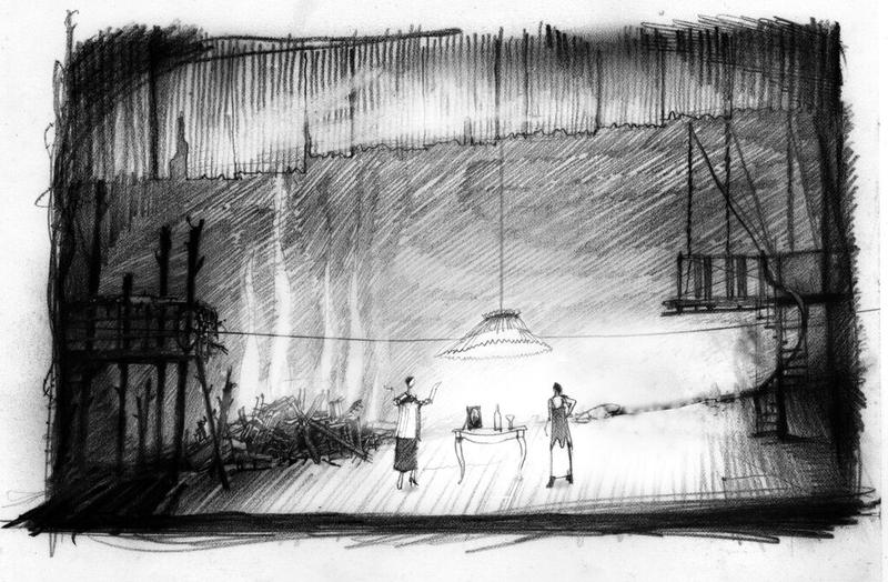 This set design sketch by Bill Clarke outlines a bleak landscape in 'Don Juan Comes Home From The War.'