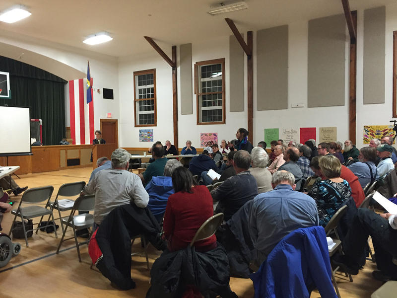 New Haven residents gathered on Dec. 8 as the town considers a 60-mile transmission line that would bring New York wind power and Quebec hydro power to the regional grid.