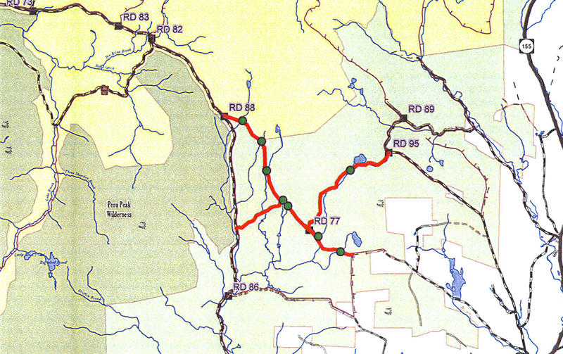 This map details closed snowmobile trails in the northern part of the Manchester District of the Green Mountain National Forest. Closed trails are in red and affected bridges are marked with green dots.