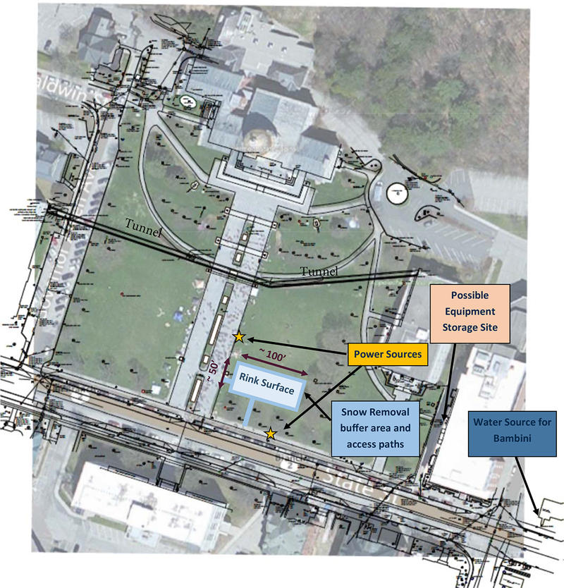 This concept plan for a temporary ice rink on the Statehouse lawn was part of the application submitted to the Vermont Department of Buildings and General Services, which is considering the plan.