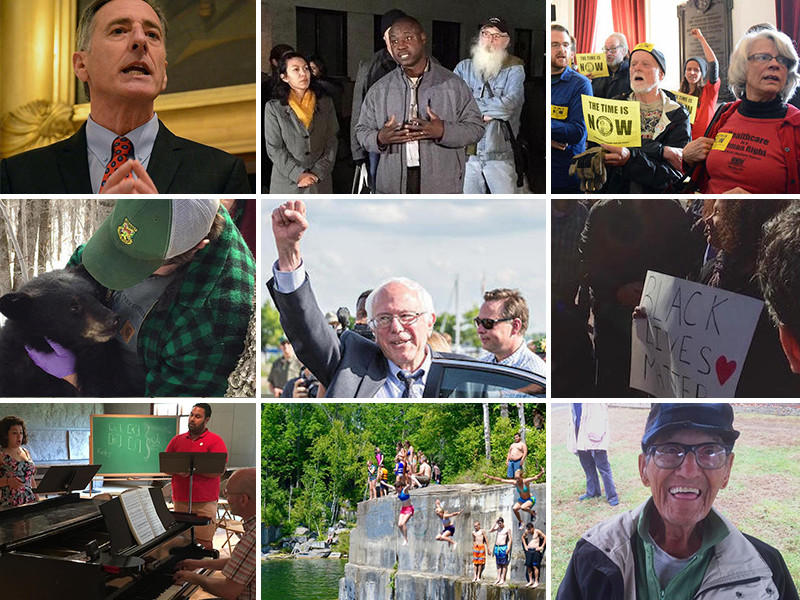 From left to right, top row: Gov. Shumlin; Yacouba Jacob Bogre; pro single-payer protesters. Middle row: Baby bear; Sen. Sanders; protester with Black Lives Matter poster. Bottom: Opera singers Emily Donato, Benjamin Liupaogo; Dorset quarry; Artie Aiken.