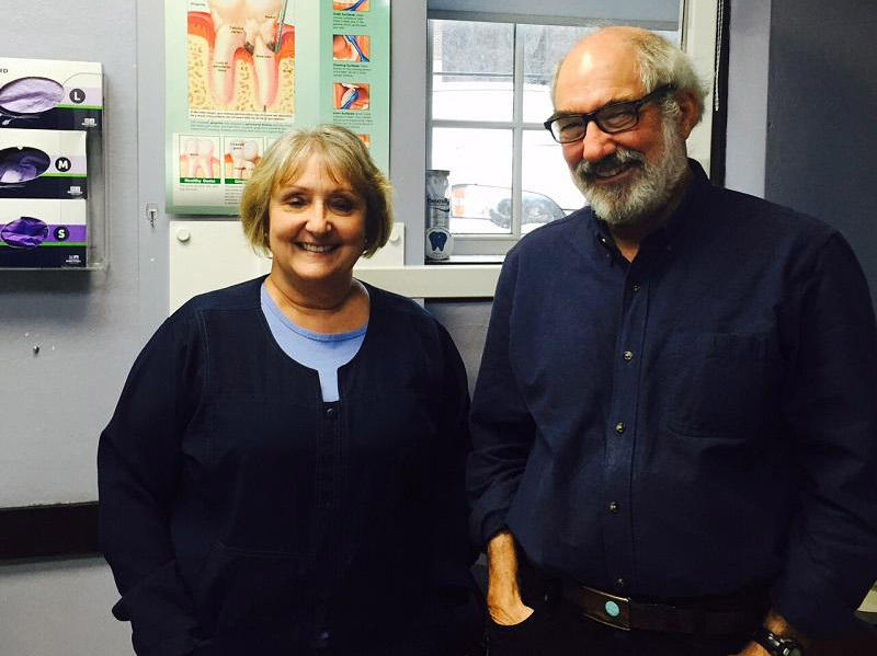 Dental hygienist Ann Jane Kemon and Jim Gold, DDS, provide free dental services to low-income patients at the Red Logan Dental Clinic in White River Junction. Many patients cannot find a dentist who will accept Medicaid, so they call the clinic.