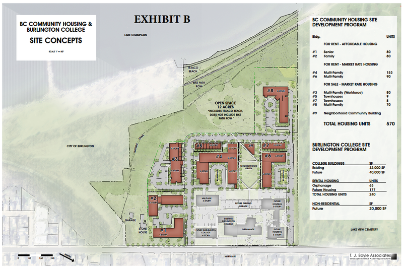 Burlington Mayor Miro Weinberger's office released this concept drawing of the proposed development on land formerly owned by Burlington College.