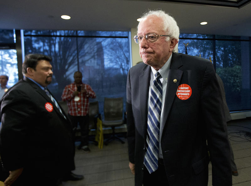 Sen. Bernie Sanders leaves an endorsement event on Dec. 17. Sanders' campaign has temporarily lost access to a major database of Democratic voters after four staffers reportedly accessed information about Hilary Clinton's campaign.