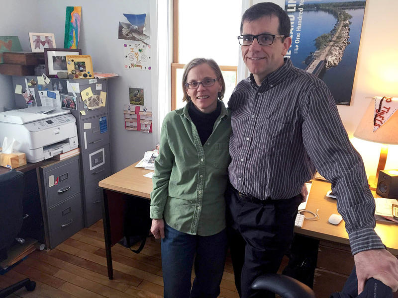 Valerie and Michael Wood-Lewis, shown here in March, founded Front Porch Forum nearly 10 years ago. Michael Wood Lewis says the business is viable without expanding out of state.