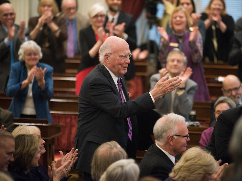 Sen. Patrick Leahy at the Vermont Statehouse, Thursday during Gov. Shumlin's last State of the State address. Leahy says he supports the President's executive order expanding background checks on guns, but wants further action to be taken by Congress.