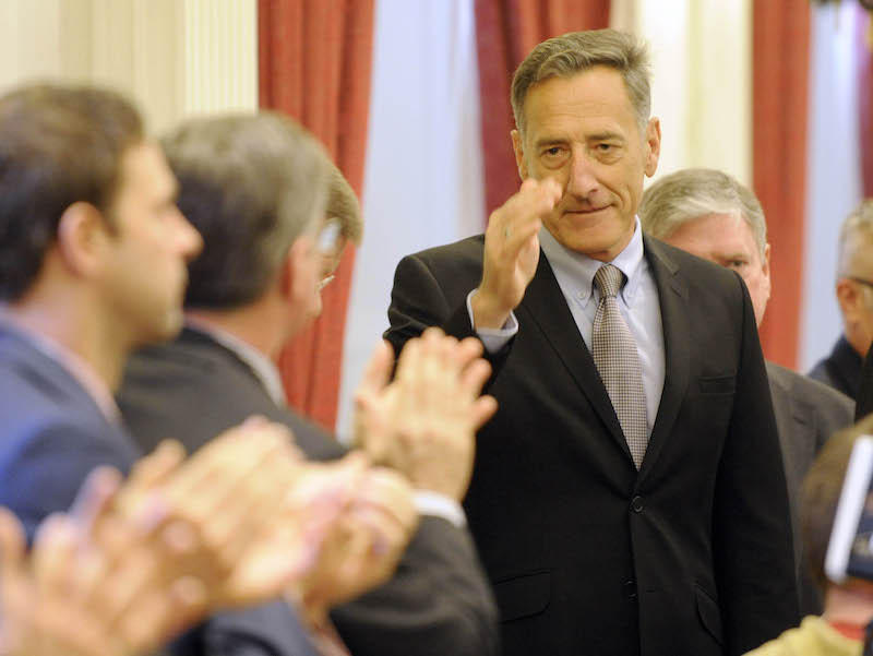 Gov. Peter Shumlin at the Statehouse to deliver his last State of the State address.