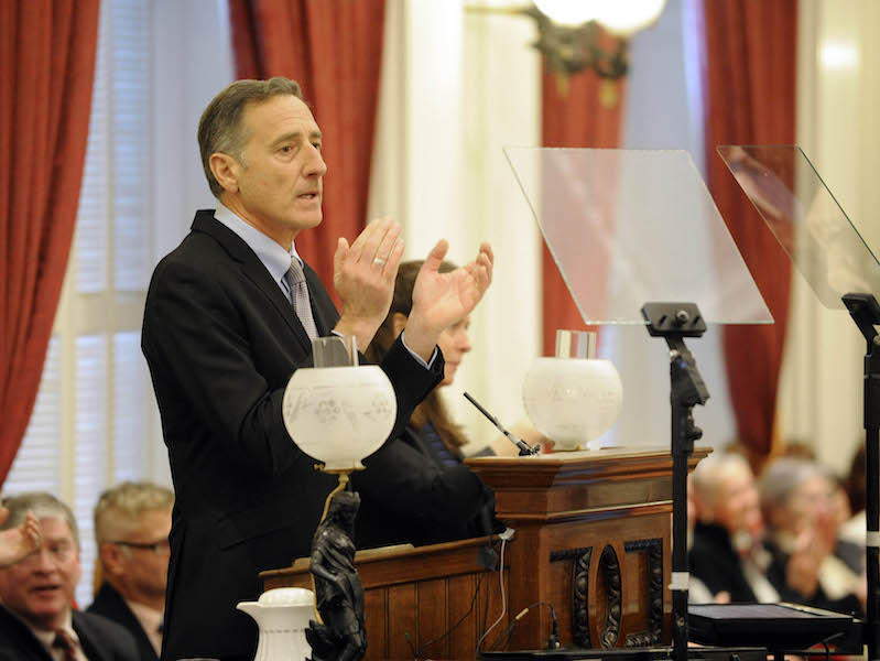 Gov. Peter Shumlin at the Statehouse, Thursday to deliver his last State of the State address.