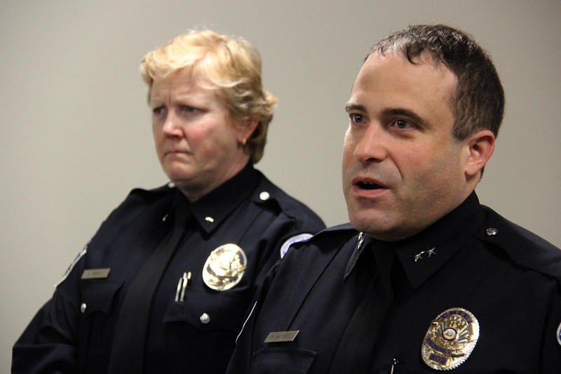 "Burlington Police Chief Brandon del Pozo, right, says remarks by President Donald Trump last week were ""very unhelpful to hardworking police everywhere."""