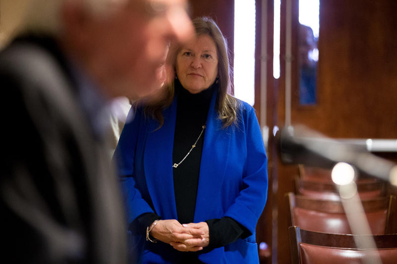 Dr. Jane Sanders, shown here in Marshalltown, Iowa on Jan. 10., has been accused of exacting a severe financial toll on the Roman Catholic Diocese of Burlington. But Vermont Bishop Christopher Coyne says the accusation is without merit.