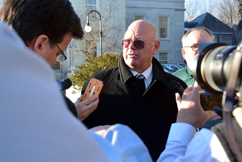Sen. McAllister speaks with reporters outside the Vermont Statehouse after his suspension. McAllister was defiant before and after the vote, saying he's done nothing wrong.