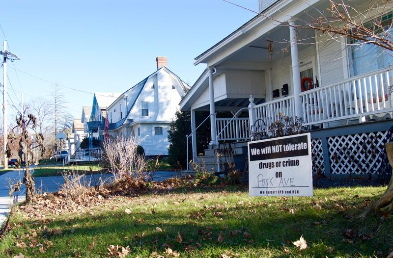 A sign in front of a home on Park Avenue in Rutland shows the city's attitutde towards drugs and crime. The city is three years in to a community-wide effort to fight opiate addiction.