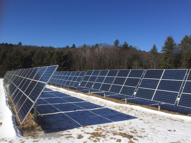 A solar array in Putney. A new report from the Solar Siting Task Force recommends expanding regional and town energy plans as part of the Public Service Board's permitting process.