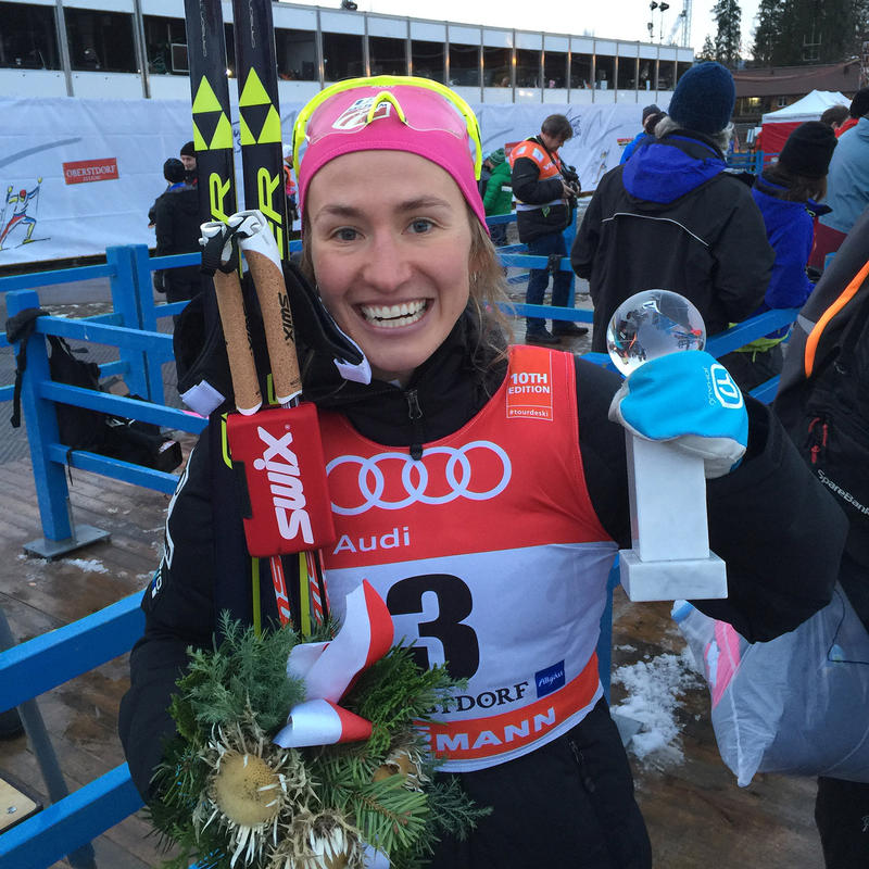 Sophie Caldwell, from Peru, Vt. is the first U.S. woman to win a World Cup in the cross country skiing classic sprint. She says she took one look at the slushy, soft conditions in Germany and felt right at home.