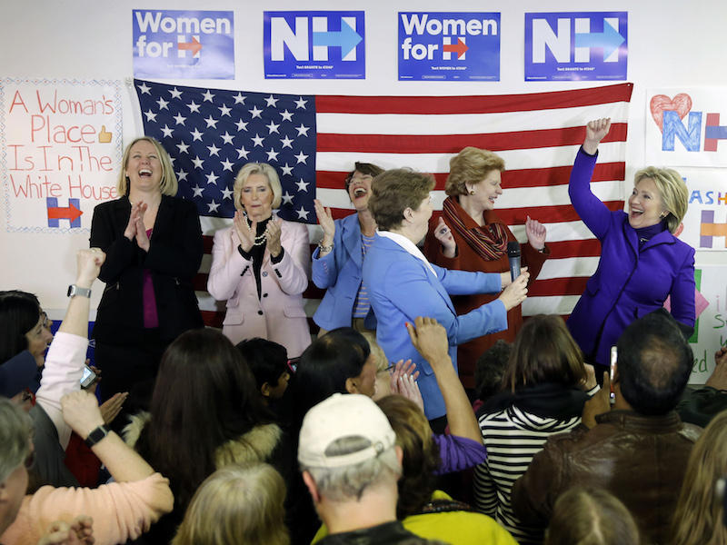 EMILY's List President Stephanie Schriock, far left at a campaign event for presidential candidiate Hillary Clinton, far right, in Nashua, New Hampshire, earlier this month ahead of the New Hampshire Primary.