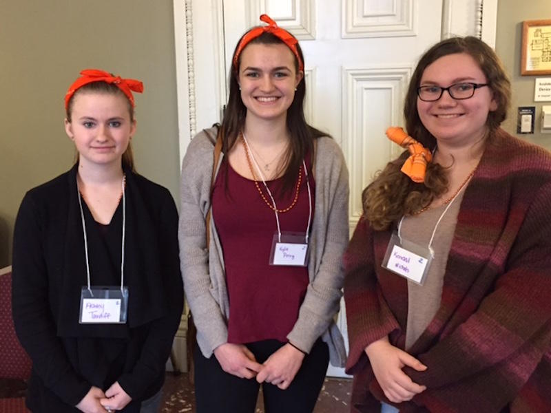 Members of the Enosburg High School student organization Our Voices Xposed came to the Statehouse Tuesday to urge lawmakers to restrict the sale and use of electronic cigarettes. From the left: Ashley Tardiff,  Kyla Perry, Kendall Nichols.