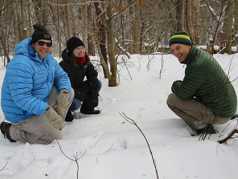 Kent McFarland, Sara Zahendra and Steve Faccio are pleased to spot some Fisher tracks at the Marsh Billings Rockefeller National Historic Park in Woodstock.