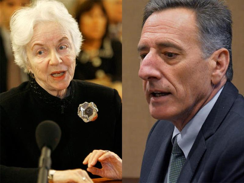 Former Gov. Madeleine Kunin, left, advocating for four-year terms in front of the Legislature in 2008. Kunin supports a new bill to extend term limits to four years, which Gov. Peter Shumlin opposes in favor of the current two-year system.