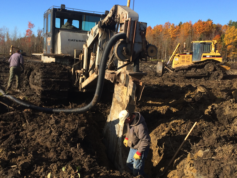 Barnes Excavation used a tile plow to install 4-inch tile drains at the Miner Institute in Chazy, New York last year.