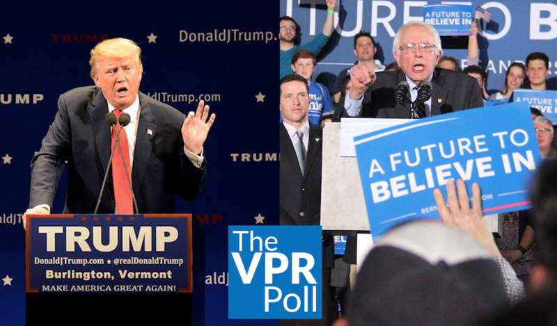 The VPR Poll shows that Donald Trump holds a 2-1 margin over several of his GOP competitors, while Sen. Bernie Sanders is leading Hillary Clinton, 78 percent to 13 percent of likely voters in the Democratic primary.