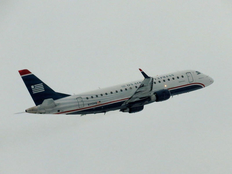 A Republic Airlines Embraer 175 takes off from Burlington International Airport in 2013. Officials at BTV and other regional airports say business is up, despite the mild winter.