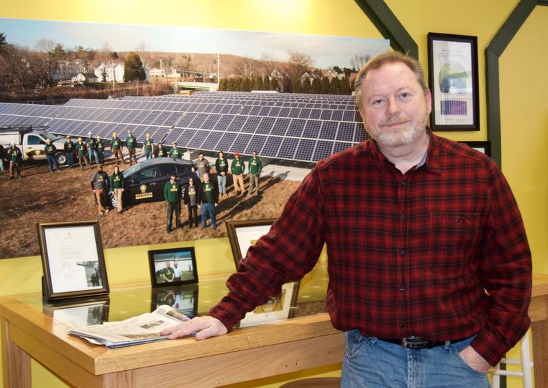 Philip Allen, who owns Same Sun of Vermont, says frustration over Rutland Town's approach to solar power projects has pushed him to run for select board. His opponent, Chris Kiefer-Cioffi, did not want her photo included in this story.