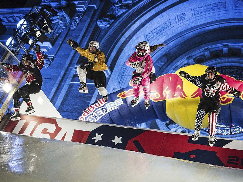 Shelburne's Lex Jackson, in yellow, competes in this year's Red Bull Crashed Ice finals in St. Paul, Minnesota.