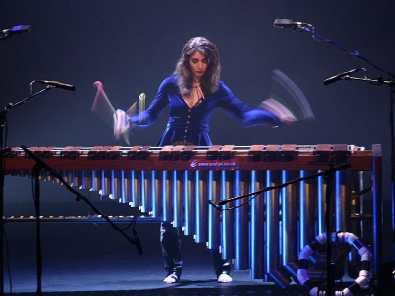 Percussionist Evelyn Glennie performs on the marimba. Glennie is this year's artist-in-residence incorporating art and music into core subjects at eight Vermont schools as part of the Community Engagement Lab.