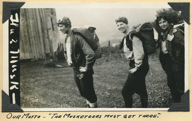 """The Three Musketeers"": Hilda Kurth, Catherine Robbins, and Kathleen Norris hiking the Long Trail"