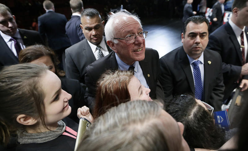 Sen. Bernie Sanders, shown here at a campaign rally in Dearborn, Mich., on March 7, can add three more notches to his delegate count after Tuesday afternoon.