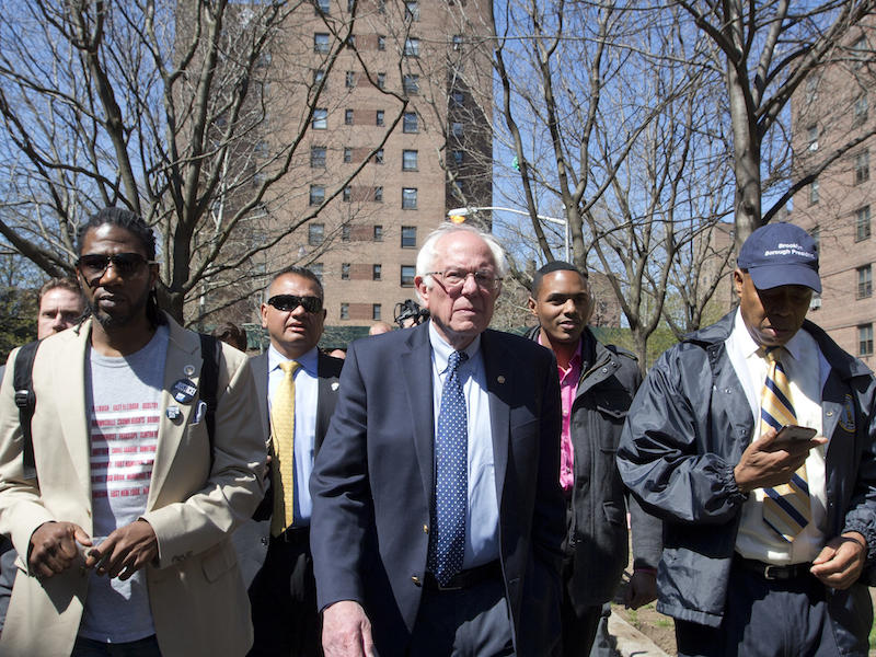 Sen. Bernie Sanders, seen here Sunday, April 17 in Brooklyn, New York, released his full 2014 tax returns Friday evening.