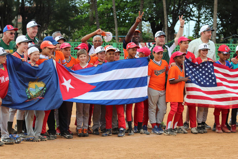 Teams from Vermont and Cuba share a photo after a game. An ad-hoc team of players from Burlington, Essex, Shelburne and Bristol recently traveled to Havana for a week of games and cultural exchange.