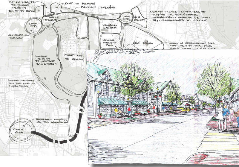 These drawings, from a planning commission poster, show a vision for the future of the Malletts Bay area.