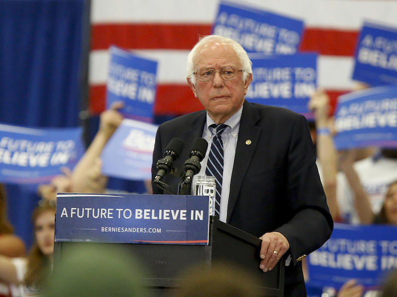 Sen. Bernie Sanders at a campaign event at the University of Pittsburgh, Monday. Polls show Hillary Clinton leading in the polls in advance of Tuesday's primary.