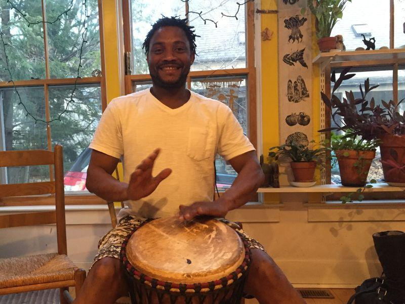 Seny Daffe of Lincoln, Vt. plays the djembe and dances with Jeh Kulu, a Burlington-based dance and drum theater. He says music is a way to communicate.