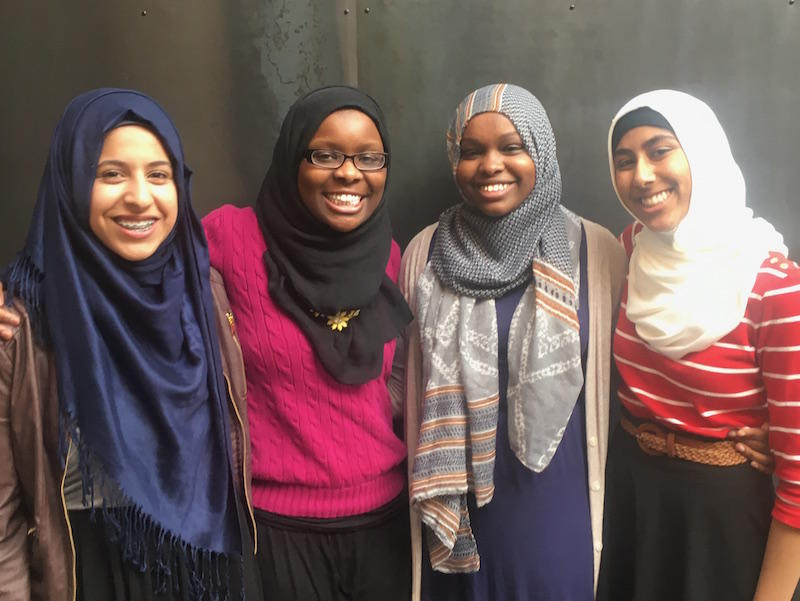 "Members of ""Muslim Girls Making Change"" from left to right: Lena Ginawi, Hawa Adam, Balkisa Abdikadir and Kiran Waqar."