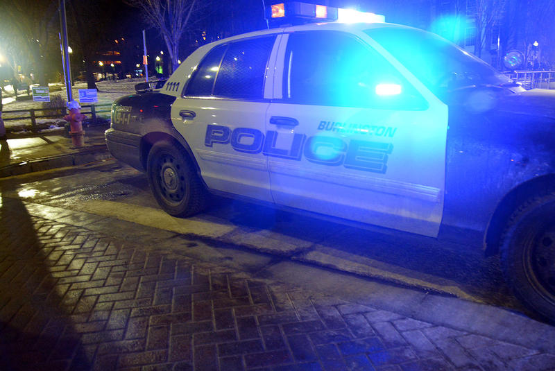 A Burlington police cruiser sits outside the Flynn Center during Donald Trump's visit to Vermont on January 7, 2016. A new analysis shows a pattern of racial disparities in the discretionary actions of Burlington police officers conducting traffic stops.