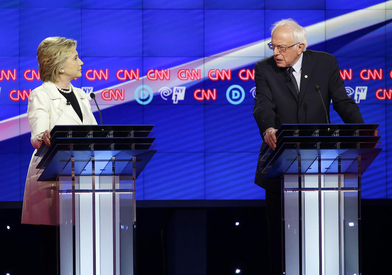 Hillary Clinton and Bernie Sanders at a CNN primary debate in Brooklyn on April 14. Clinton looks to be on a glide path to the Democratic presidential nomination, which has some of Sanders' Washington colleagues asking him to tone down the barbs.