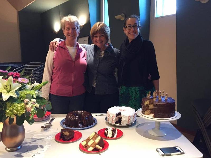 Bakers Laura Schonfeld, Jean Murphy, and Patti Daniels show off their cakes