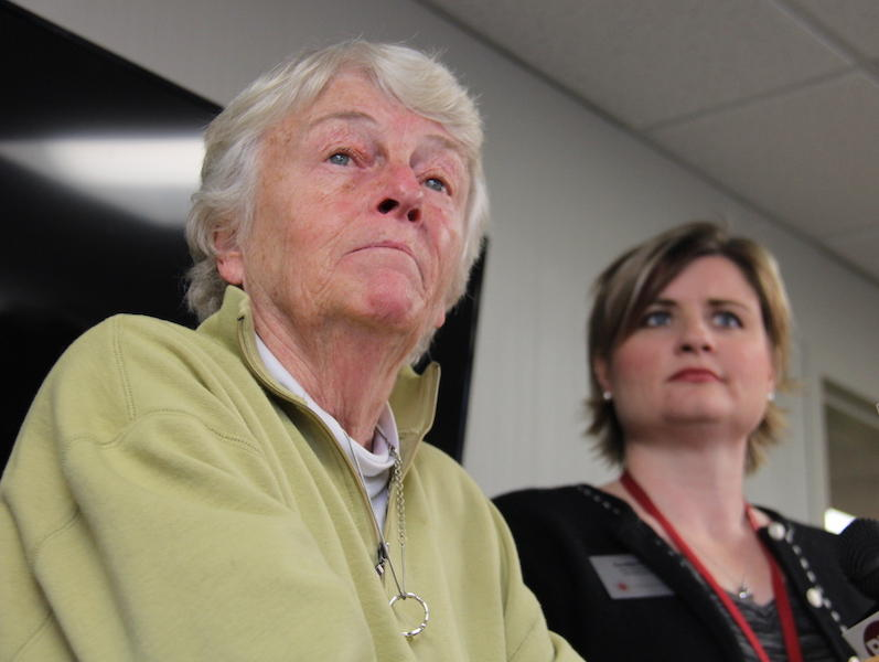 """Burlington College President Carol Moore, left, at a press conference Monday on the school's closure. Moore says """"instability around the college,"""" low recruitment for fall 2015 and the loss of the school's line of credit all contributed to its closure."""