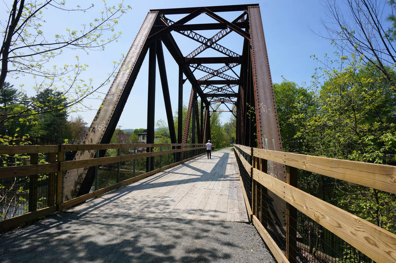This railroad bridge is part of the Lamoille Valley Rail Trail in Morrisville. According to the Vermont Association of Snow Travelers, there are 42 bridges to repair or replace along the trail before it is complete.